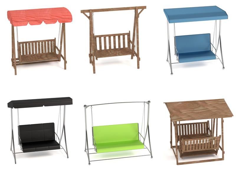 Варианты подвесных качелей с сиденьем-диваном