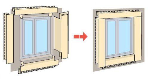Схема сборки сайдинга, при обшивке окна